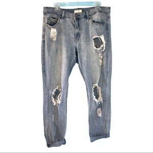 Unpublished Distressed Light Wash Blue Jeans Denim